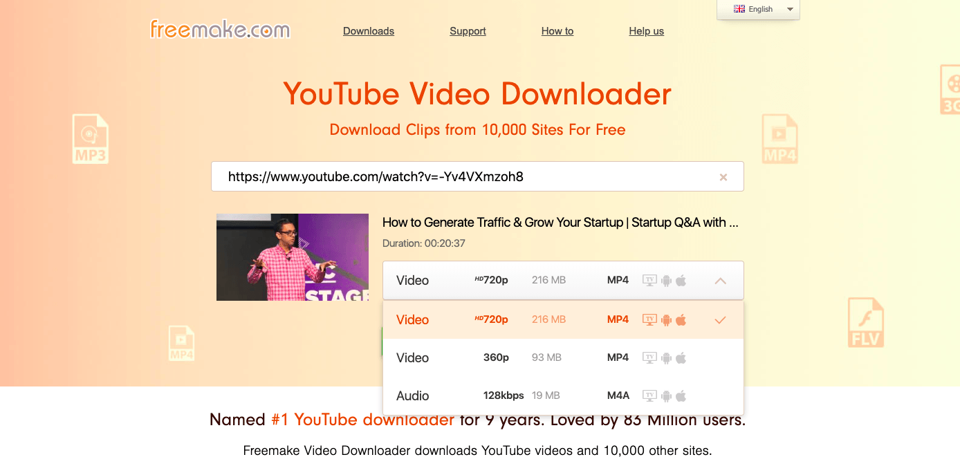 freemake video downloader homepage screenshot