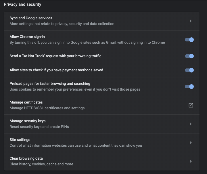 chrome privacy menu screenshot