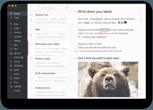 bear app main ui screenshot