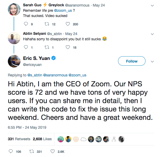 Eric Yuan on twitter