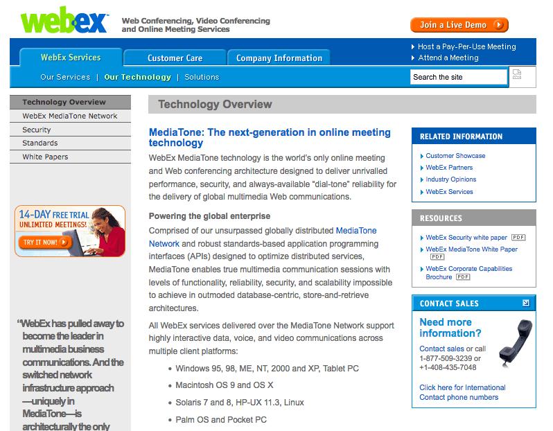 WebEx Communications website 2005 screenshot