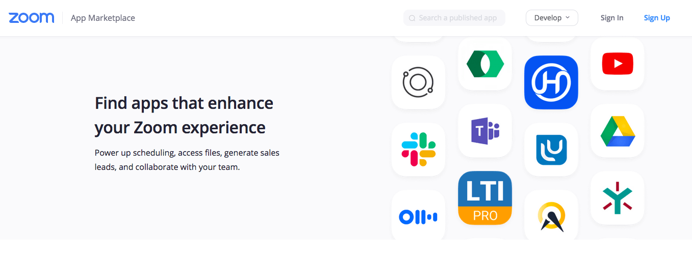 Zoom app marketplace homepage screenshot