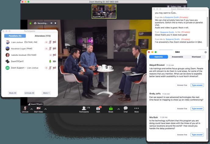 Zoom video webinars features
