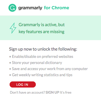 Grammarly chrome extension log in screenshot