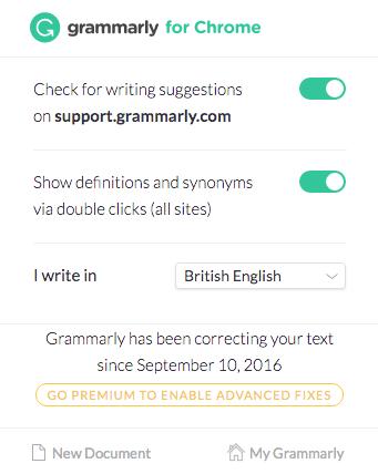 grammarly chrome extension screenshot