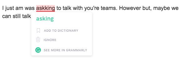 Grammarly typo