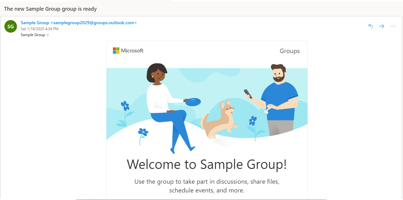 Office 365 Groups welcome email screenshot