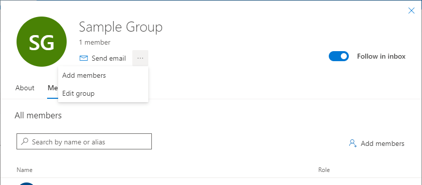 Office 365 Groups sample group card