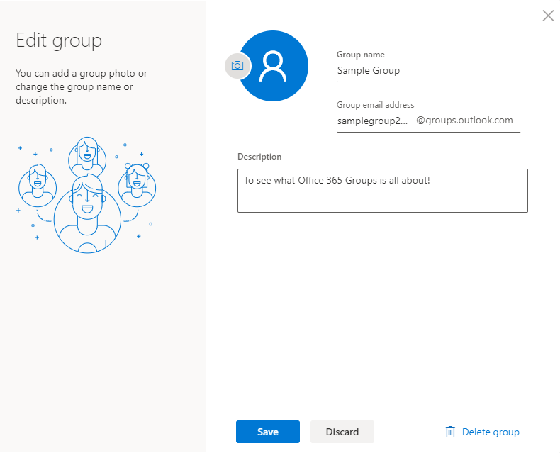 Office 365 Groups edit group dialog