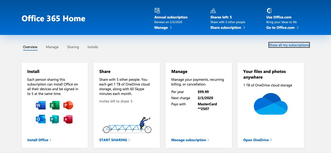 office 365 homepage screenshot