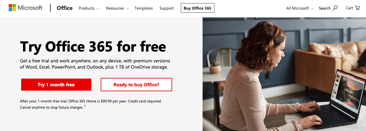 office 365 product page screenshot