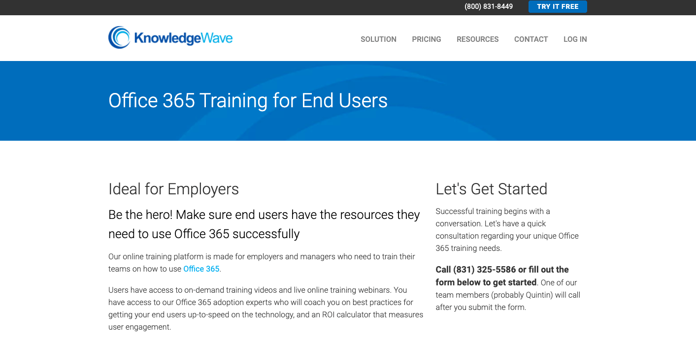 knowledge wave office 365 training homepage