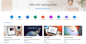 office 365 training homepage
