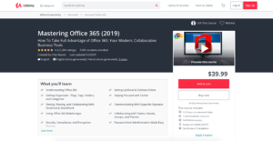 udemy office 365 course homepage