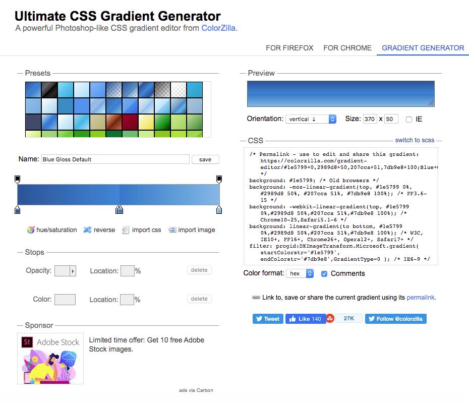 colorzilla css gradient generator