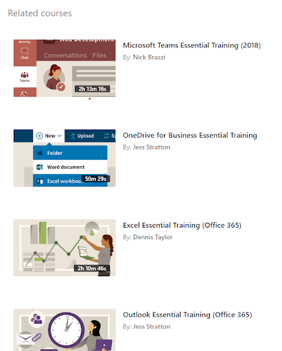 linkedin learning office 365 training course list