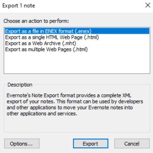Evernote export dialog box