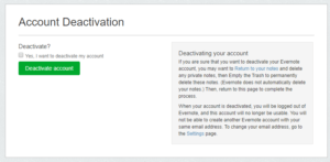 evernote account deactivation dialog box