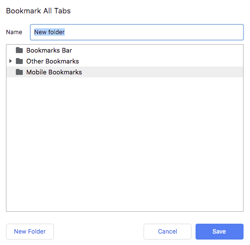 bookmark all tabs dialog box