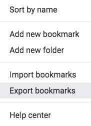 chrome bookmarks menu screenshot