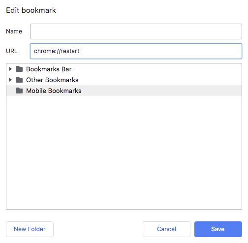 edit bookmark dialog box