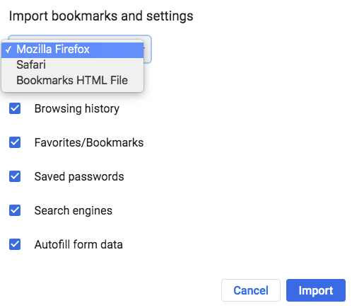 import bookmarks dialog box