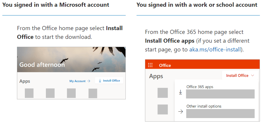 office 365 Install option