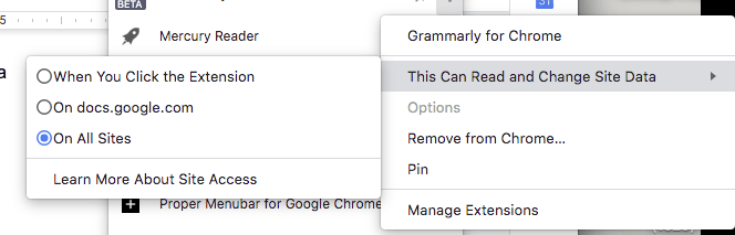 chrome extension management menu screenshot
