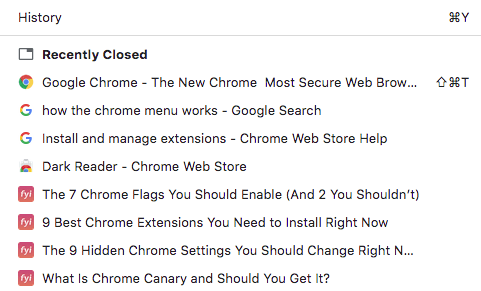 chrome history screenshot
