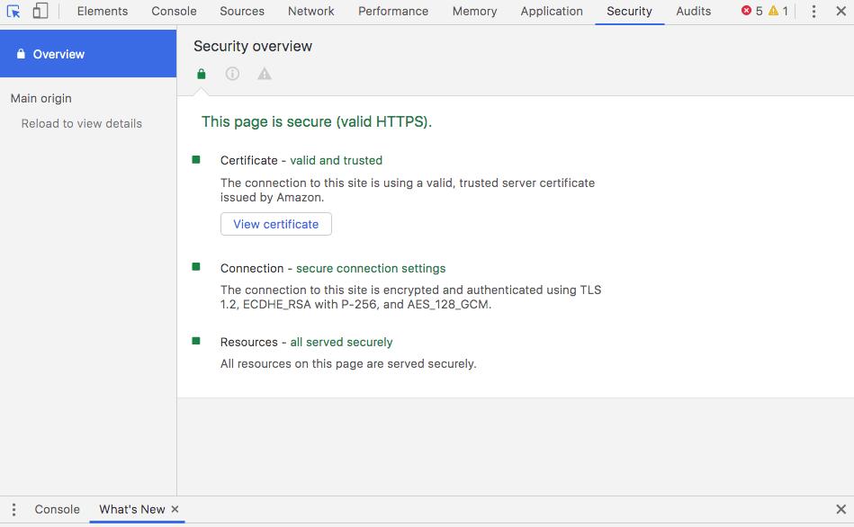 developer tools security tab