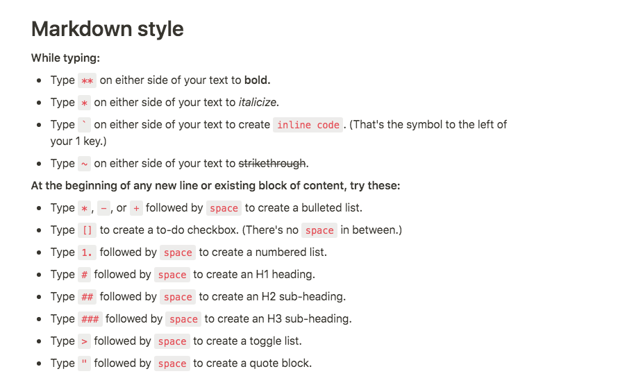 notion markdown commands