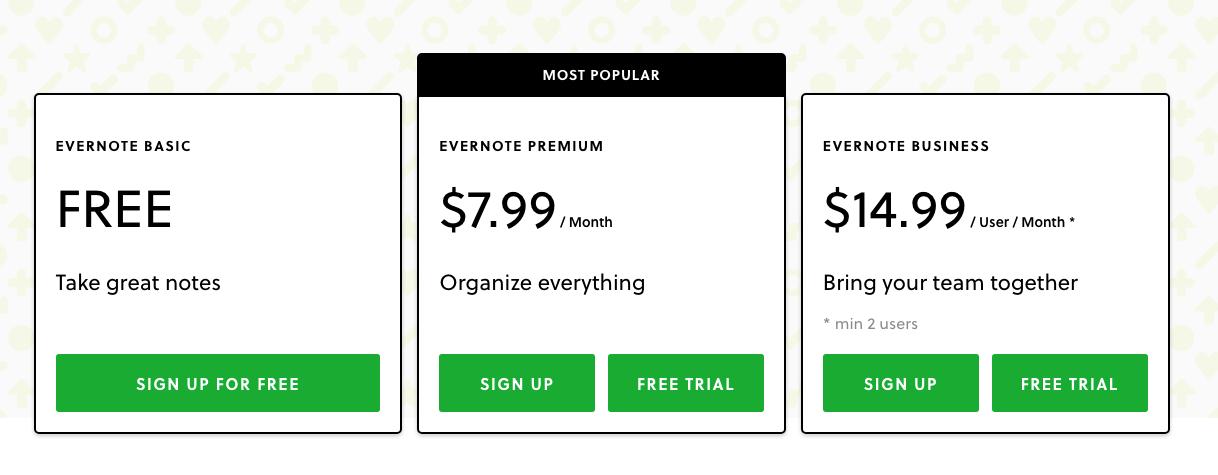 Evernote pricing