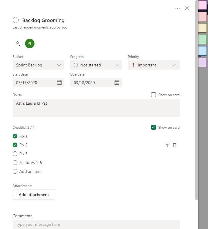 office 365 planner Task card