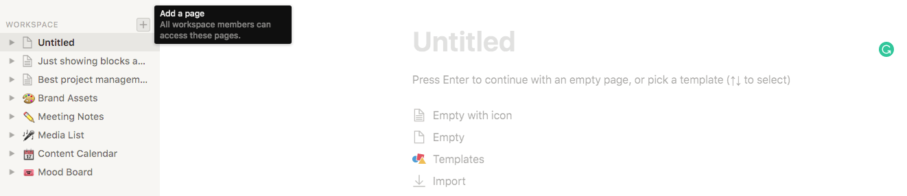 notion interface
