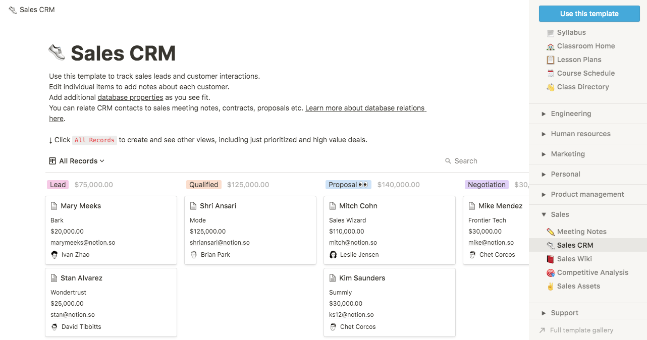 notion crm example
