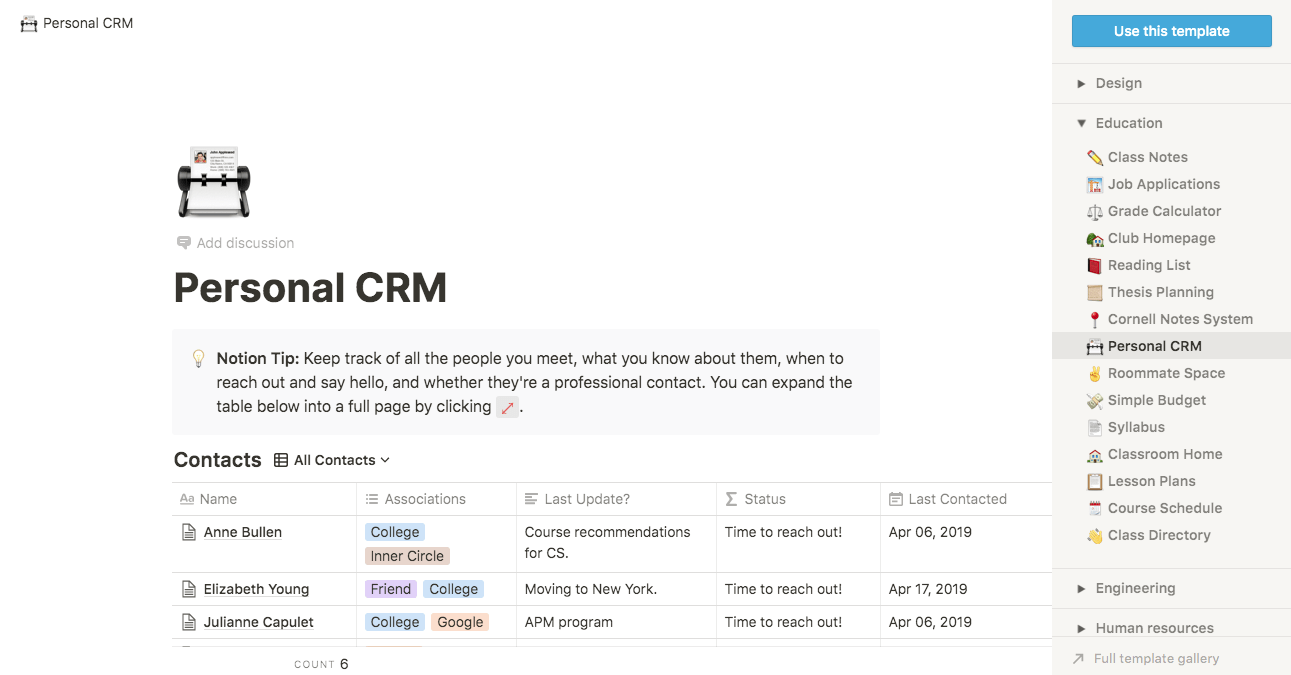 notion personal crm template