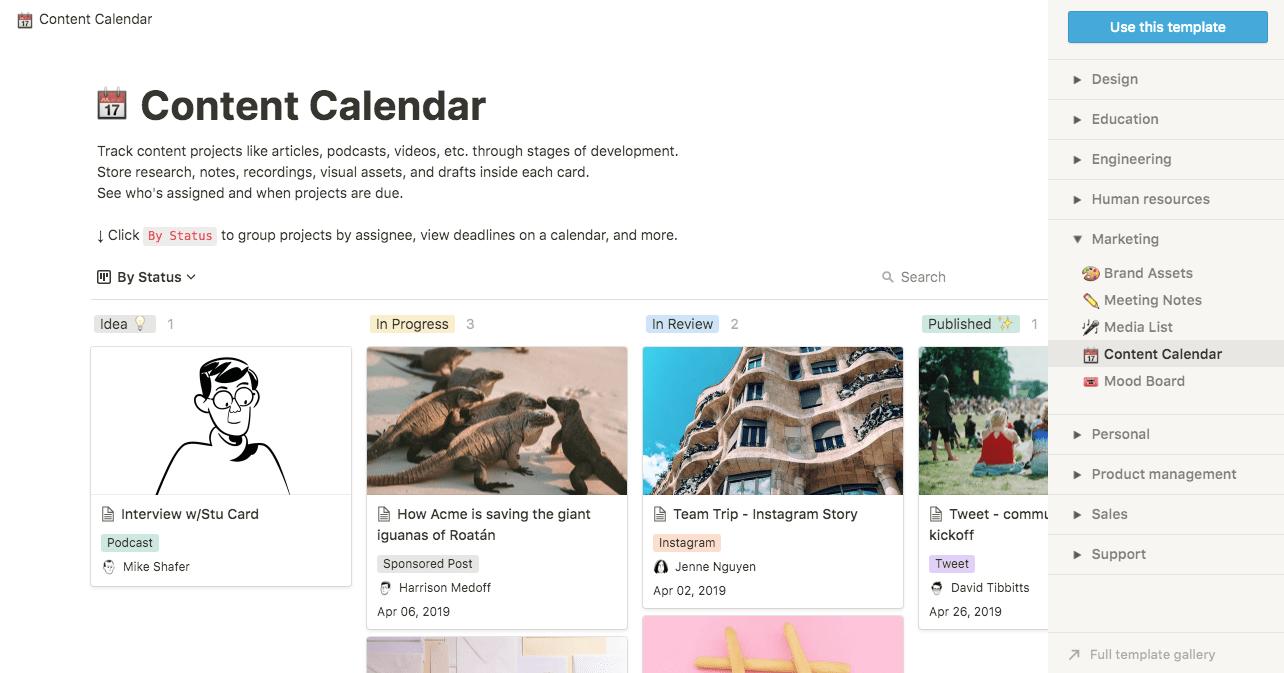 notion content calendar template