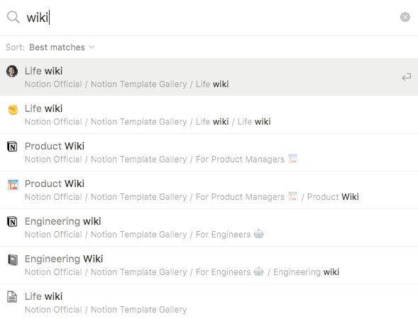 notion wiki options