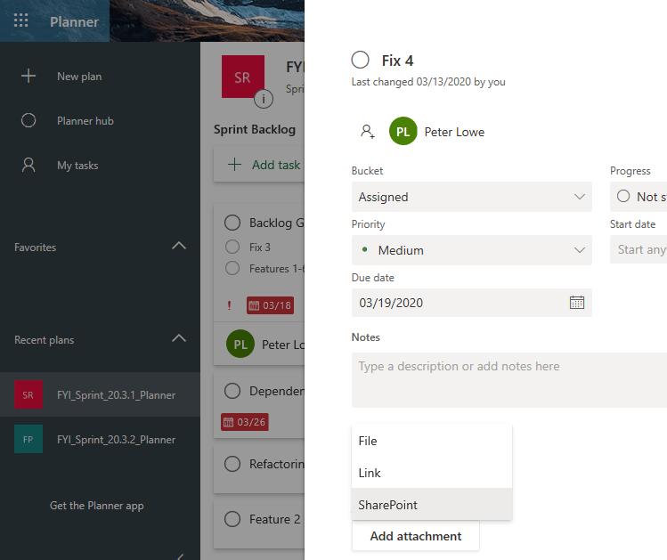 Microsoft 365 planner example