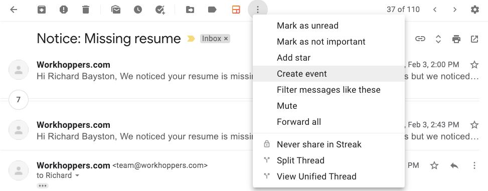 Gmail create event