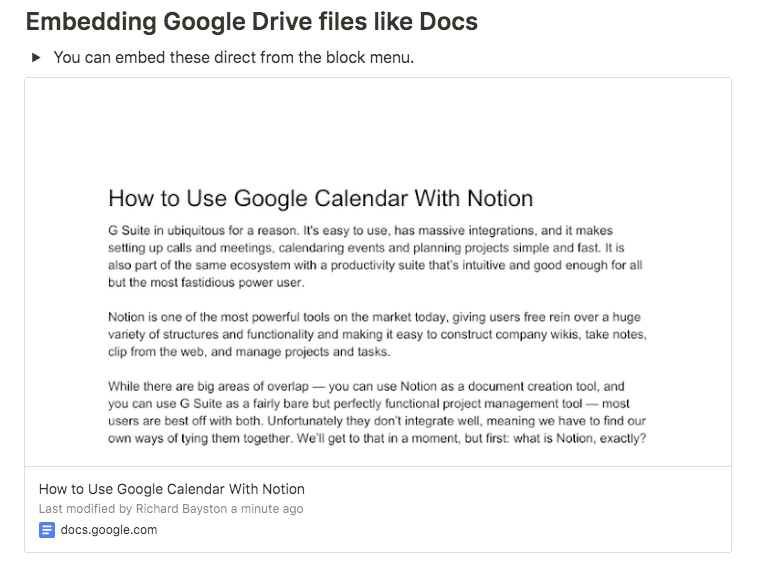 notion embed google docs