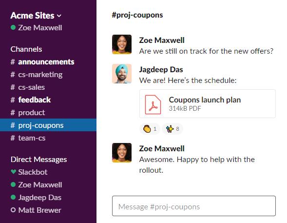 Slack user interface