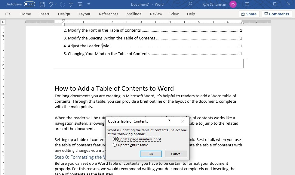 How To Add A Table Of Contents Word - Remove Spacing In Table Of Contents Word